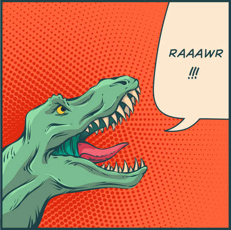 Vector illustration in mid century comics style - rawring dinosaur with halftone background and speech bubble.