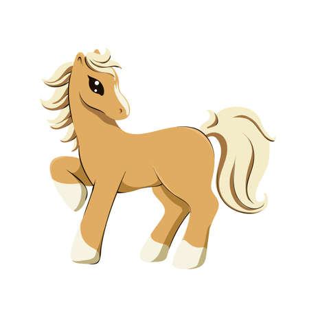 Vector illustration of purebreed palomino horse in cartoon style isolated on white