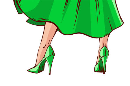 Vector illustration in mid century comic book style - legs of pin-up sexy woman in green standing isolated on white.
