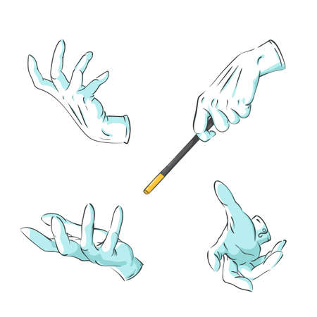 Vector set of magician hands in gloves with a magic wand performing a focus - collection of gestures to combine, isolated on white with copy space