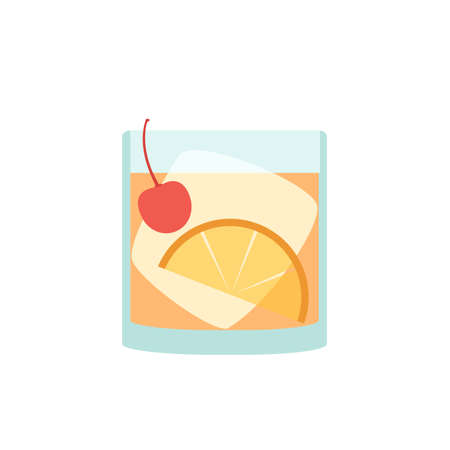 beverage in flat style - Old Fashioned with ice cube, orange slice and maraschino cherry isolated on white