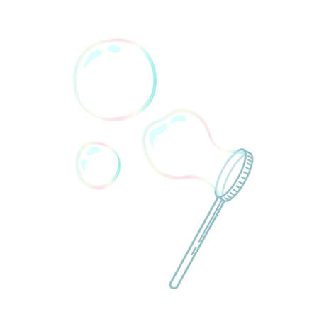 illustration of colourful soap bubbles with blower stick isolated on white