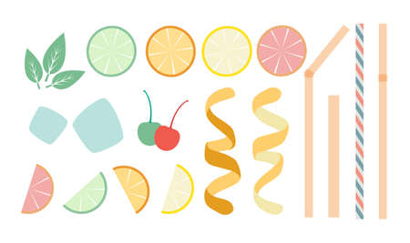 designer kit for drinks in flat style - sliced citrus fruits, various straws, mint leaves, ice and other decorations, top view isolated on white