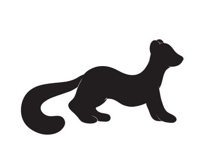 illustration of a cute pine marten silhouette in cartoon korean or japanese mascot style, black isolated on white