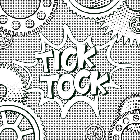 illustration in retro mid century comic books style - tick-tock words in frame of clock gears on black and white halftone background Vettoriali