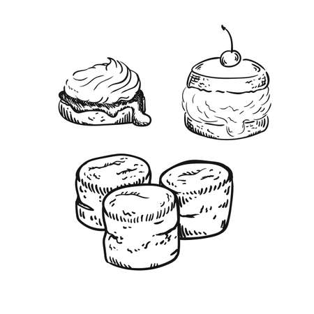 illustration of scones, sketch isolated on white - hot home made baked sweet bun. Çizim