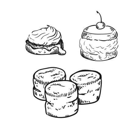 illustration of scones, sketch isolated on white - hot home made baked sweet bun. Ilustração
