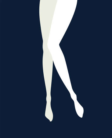 illustration in mid century pop art poster style - pinup woman legs in isolated on dark blue poster background