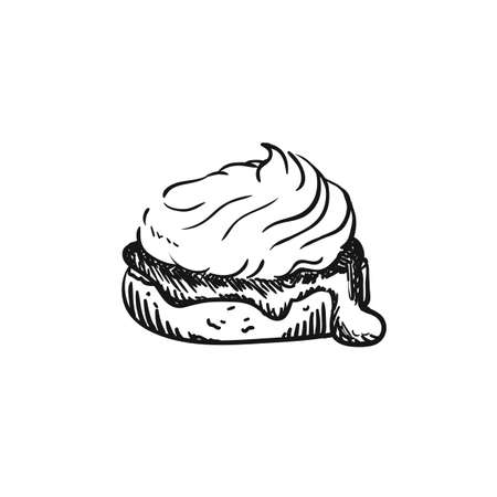 illustration of scones, sketch isolated on white - hot home made baked sweet bun. Illustration