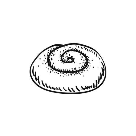 illustration of a cinnamon roll bun, sketch isolated on white - hot home made baked sweet bun with poppy seeds.