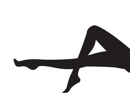 Illustrazione vettoriale di gambe di donna pinup nel vettore - sagoma di parte del corpo nero isolato su sfondo bianco