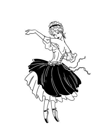 Vector illustration of art deco ballerina - ballet performance as a shepherdess in la belle epoque style - black outline isolated on white for decoration and coloring books