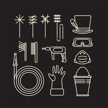 Satz von Symbolen von Schornsteinfegerwerkzeugen und -geräten im minimalistischen Stil der Linienkunst