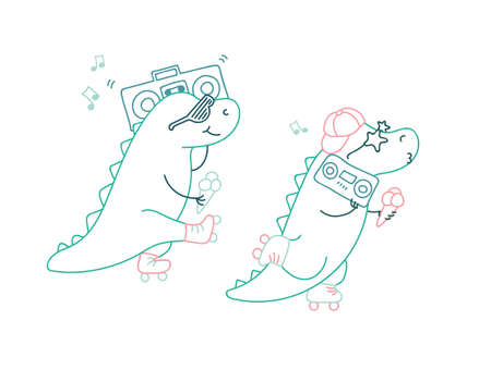 Dinosaurs on roller skates with ice cream and music player in line art color style isolated on white Vectores