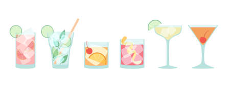 Vector collection of popular cocktails in flat style isolated on white - Mojito, Daiquiri, Old Fashioned, Negroni, Manhattan, Sea Breeze, with ice cubes and proper decoration 일러스트
