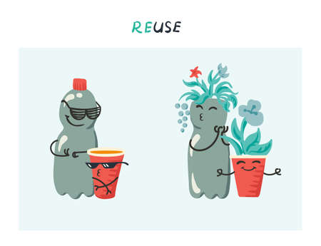 Vector illustration of funny plastic bottle and red plastic cup being reused as plant pots in home garden - recycle concept characters Иллюстрация