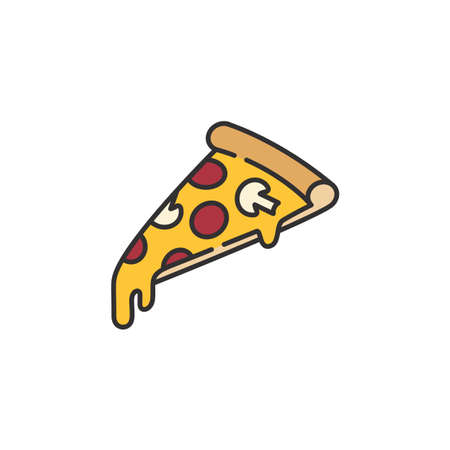 Pizza slice with melting cheese linear isometric minimal vector illustration icon isolated on white