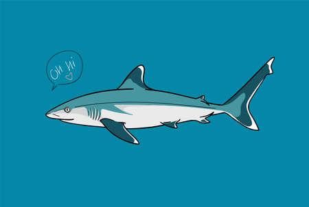 Silvertip shark fish predator with speech bubble saying Hi funny vector illustration