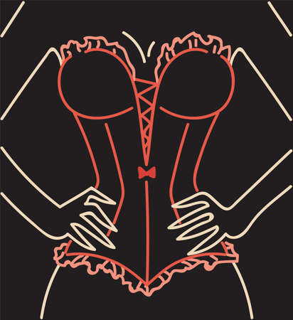 Woman in red corset neon lamps light sign, hands on waist vector illustration in retro style for cabaret show or fachion clothes lingerie shop