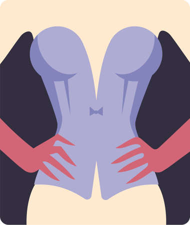 Corset on woman with hands on waist vector illustration in flat style of poster for stag party, cabaret show or fachion sexy clothes lingerie shop