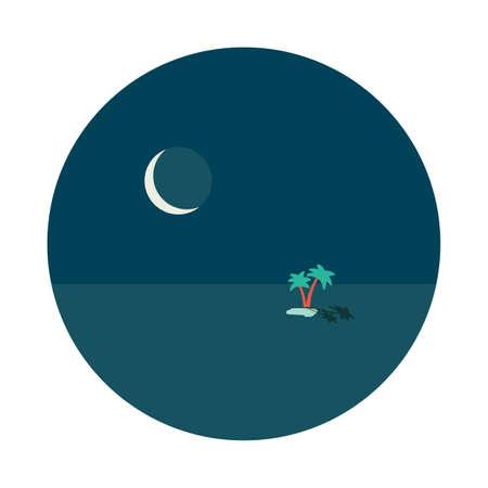 Lago di oasi del deserto di notte con due palme in mezzo alle sabbie e grande concetto di vignetta rotonda di vettore della luna fredda, illustrazione della carta da parati del manifesto isolata su bianco