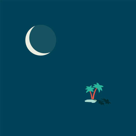 Night desert oasis lake with two palms in middle of sands and big cold moon vector concept poster wallpaper illustration isolated on white