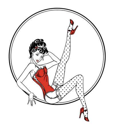 Pin-up klassische Frau in rotem Korsett und gepunkteten Strümpfen, die im Kreis Retro-amerikanisches Pin-up-Tattoo-Design lokalisiert auf Weiß sitzen Vektorgrafik