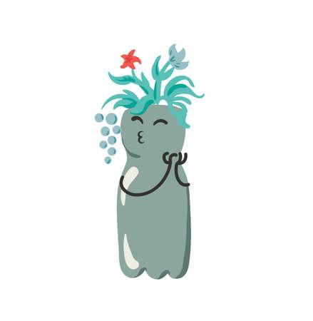 Riutilizzare il vaso di fiori in bottiglia di plastica nel giardino di casa e riciclare l'artigianato tema illustrazione personaggio divertente con viso e mani vettore isolato su bianco Vettoriali