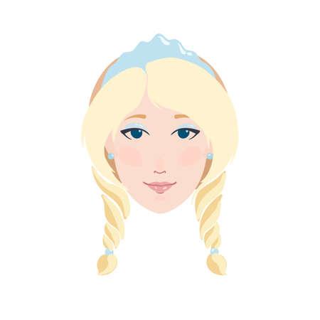 Blonde woman flat portrait as Snow maiden Snegurochka in kokoshnik ice crown and blue fur coat smiling vector illustration