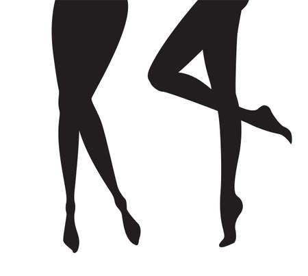 Set di gambe femminili sagome collezione di modelli di piedi di ombre nere nel vettore isolato su bianco Vettoriali