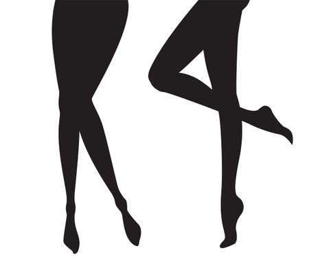 Set of female legs silhouettes collection of black shadows feet models in vector isolated on white Vector Illustration