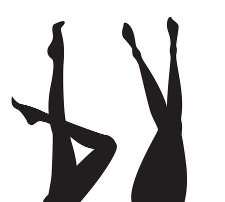 Satz von weiblichen Beinschattenbildsammlung von schwarzen Schattenfußmodellen im Vektor lokalisiert auf Weiß