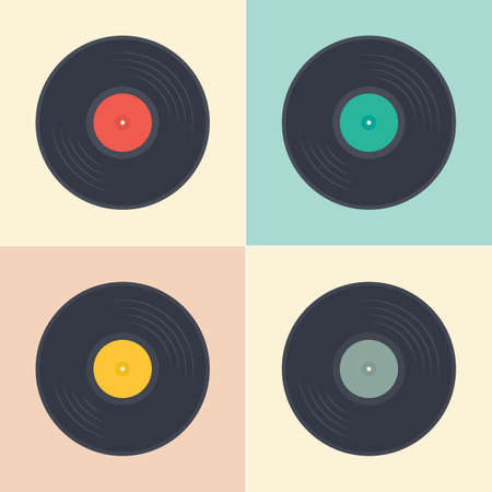 Vinyl records seamless pattern retro music albums in pop art style vector collection illustration Vettoriali