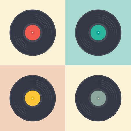 Płyty winylowe albumy muzyczne retro wzór w stylu pop-art wektor zbiory ilustracji
