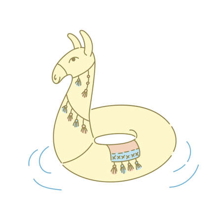 Llama or alpaca pool ring floater rubber inflatable toy vector illustration object isolated on white