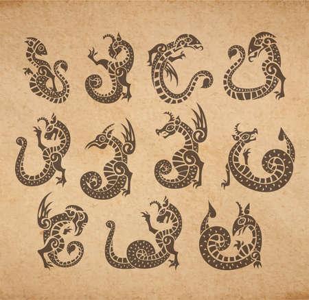 Chimeras ancient medieval set gargoyles vector collection on old parchment vintage illustration
