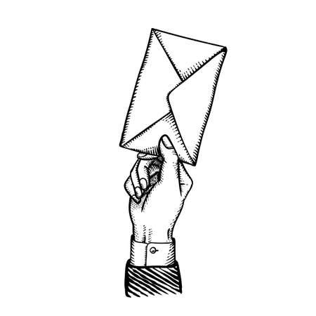 Main de style gravée de la Saint-Valentin avec enveloppe postale comme message secret de déclaration d'amour d'un admirateur romantique Illustration vectorielle de style vintage isolée sur blanc Vecteurs