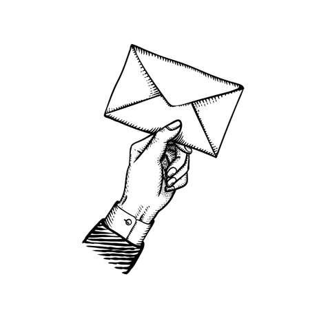 Postino che tiene la lettera vintage incisa illustrazione vettoriale della busta della lettera postale nel dare la mano retrò isolata su white