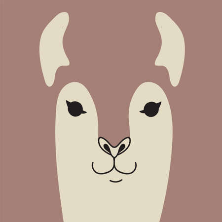 Cute llama cartoon animal portrait with smiling face cocoa brown animal head card with copy space vector illustration