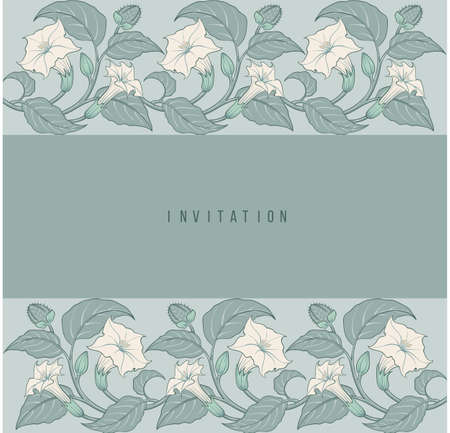 Art-nouveau floral invitation frame with datura botanical ornament frame vector background illustration Ilustração
