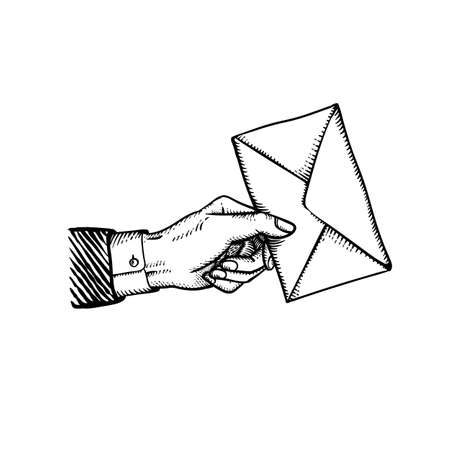 Gravure stijl hand met post envelop als Valentijnsdag geheime boodschap van liefdesverklaring van romantische bewonderaar Vintage stijl vectorillustratie geïsoleerd op wit Vector Illustratie
