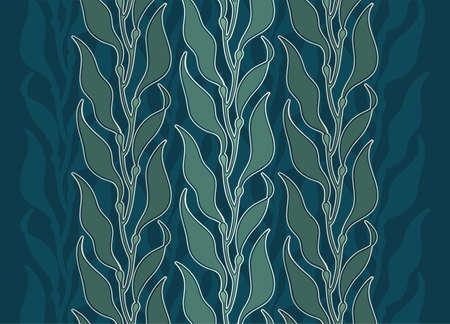 Illustration d'algues de varech de fruits de mer comestibles dans un ornement élégant de style vintage avec vecteur de couleur de cuisine asiatique de forêt de varech d'algues