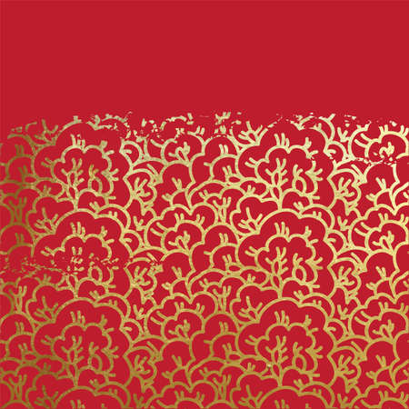 Oriental ancient sakura tree pattern grungy real golden paint metallic foil ornament on lucky red paper vintage old scratched gold ink or glitter background Hanami festival. Illustration