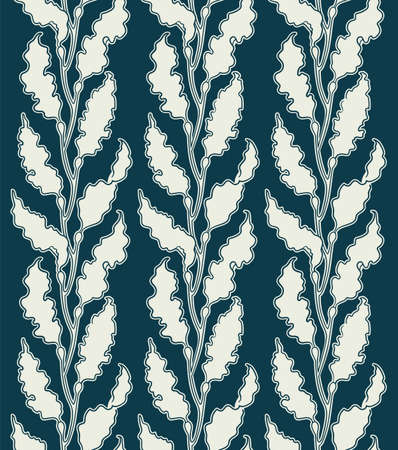 Art Deco kelp seaweed pattern illustration in retro style elegant seamless ornament with algae kelp forest two color vector texture