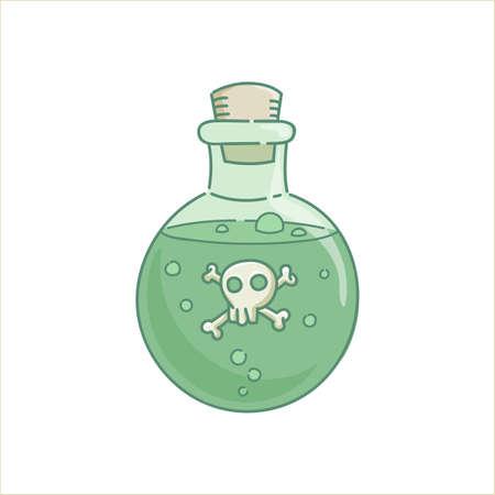 Poción de veneno veneno gin lass botella verde líquido hechizo con scull para vacaciones Halloween vector aislado en blanco Ilustración de vector