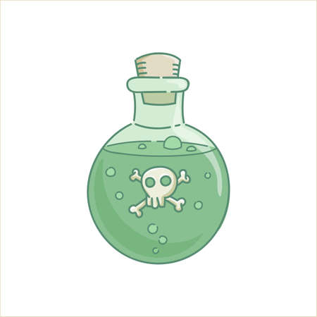 Poison venom potion gin lass bottle green liquid spell with scull for holiday Halloween vector isolated on white