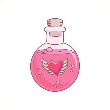 Hechizo líquido rosado de la botella de la muchacha de la ginebra de la poción de amor para las vacaciones de Halloween y el vector del día de San Valentín aislado en blanco