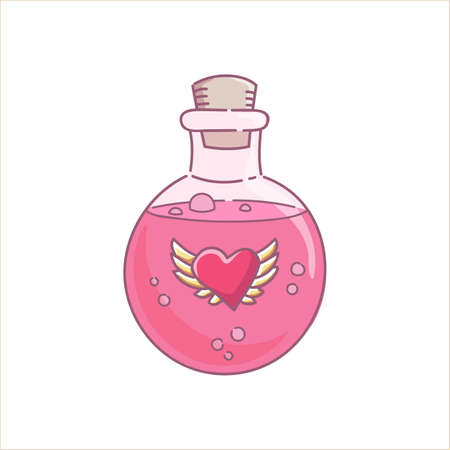 Love potion gin lass bottle pink liquid spell for holidays Halloween and Valentines day vector isolated on white
