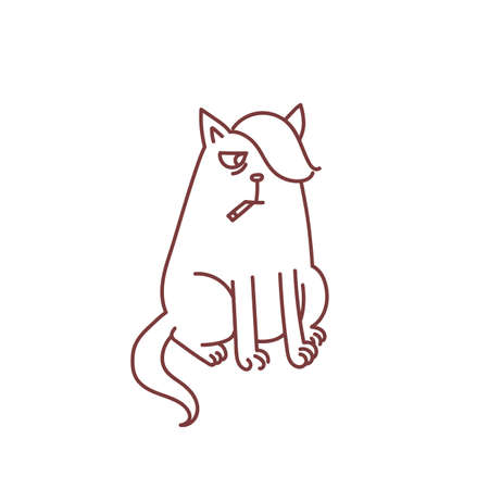 Cat smoking cigarette teen problems with nicotine concept bad habit status social smoking emo doodle sketch vector illustration isolated on white background Ilustração