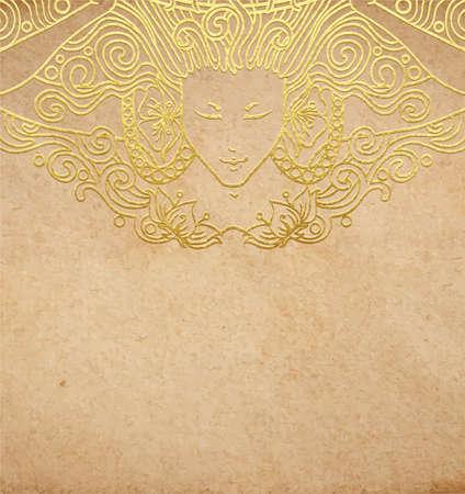 Vintage vector parchment with gold decoration detailed art-nouveau vignette of angel woman in golden foil on aged paper with copy space